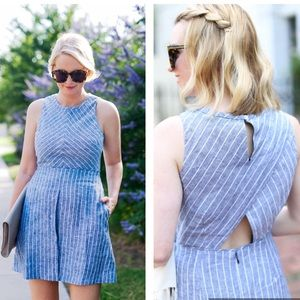 J. Crew Blue Chevron Striped Dress-D